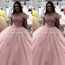 short corset sweet 16 dresses 2019 - Pink Quinceanera Dresses Ball Gown Applique Lace Crystal Prom 2020 Debutante Sweet 16 Dress Corset vestidos de 15 anos c