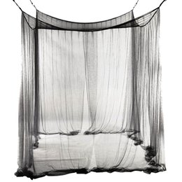 $enCountryForm.capitalKeyWord UK - TOP!-4-Corner Bed Netting Canopy Mosquito Net for Queen King Sized Bed 190*210*240cm (Black)