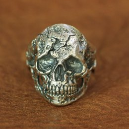 Discount biker rings 13 LINSION 925 Sterling Silver Wounded Skull Ring Mens Biker Rock Punk Ring TA134 US Size 7 to 13