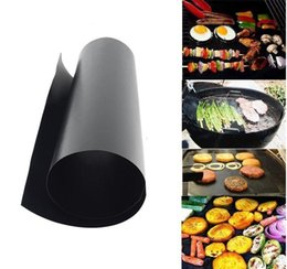 Wholesale Copper Kitchen Australia - Barbecue Grilling Liner BBQ Copper Grill Mat Portable Non-stick and Reusable Make Grilling Easy 33*40CM Black Gold Oven Hotplate Mats 170502