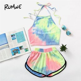 sleeveless cowl neck tops NZ - Romwe Halter Neck Water Color Crop Top With Ringer Shorts 2019 Summer Sleeveless Tie Dye Shorts New Design Women Sets Y19042901