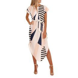 Best Canvas Prints UK - Best selling Women Casual Short Sleeve V Neck Printed Asymmetrical Long Dress Ladies Irregular Geometric Print Patchwork Dresses