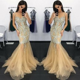 $enCountryForm.capitalKeyWord Australia - 2019 Champagne With Silver Beads Sequins Prom Dresses Sexy Spaghetti Straps Mermaid Tulle Skirt Evening Gowns Custom Made