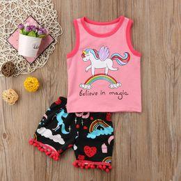 Girls Tassel Shirt Australia - INS Baby Girls Unicorn Tees Floral Rainbow Tassel Shorts Believe in magic Letters Printing 2pcs Outfits Princess Girls Sleeveless Suits