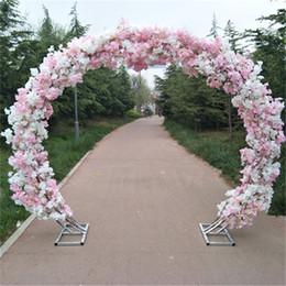 Lucky Decor Australia - Wedding Silk Flowers Cherry Blossom wedding arch Iron Round Stand Lucky Door DIY Wedding Party Decor Artificial Flower Cherry Blossom Arch