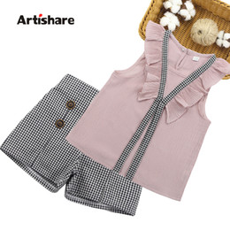 girl army shorts NZ - Girls Clothing Set 2019 Summer Girls Clothes Kids Vest + Plaid Shorts 2PCS Suits For Girls Clothes 6 7 10 11 12 14 Years SH190907