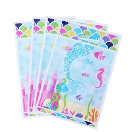 cheap food gifts Canada - Cheap Gift Bags & Wrapping Supplies Pack of 20 Gift Bags Cartoon Plastic Mermaid Pattern Cute Party Favors Candy Bag Pouch for