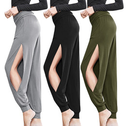 $enCountryForm.capitalKeyWord Australia - 2019 New Sexy Harem Yoga Pants Black High Waist Sport Leggings Wide Leg Loose Split Dance Overall Fitness Gym Clothing Run Pants