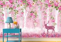 princess kids beds UK - Custom 3D Photo Wallpaper Mural Living Room Bed Room Sofa TV Backdrop mural Pink Princess House elk Picture Wallpaper Sticker Home Decor