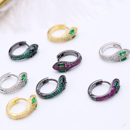 $enCountryForm.capitalKeyWord Australia - Fashion Gold Silver Plated Punk Stud Piercing Earrings Snake-shaped Shiny Red White Crystal Earrings Unique Party Jewelry for Women