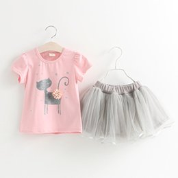 Cat Suit Outfits Australia - New Summer Baby Girls Set Kids Children Short Sleeve Cartoon Cat T-shirt + Lace Skirt Girl 2pcs Outfits Clothing Suit 4865