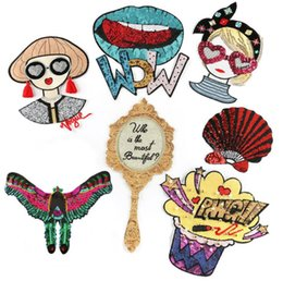 japan clothes wholesalers Australia - Patches for Clothing Iron on Embroidered Kite Girls Glass Sew Applique Cute Patch Fabric Badge Garment DIY Apparel Accessories