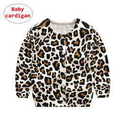 Sweater Coat Kids NZ - INS Baby leopard design Cardigan Toddler Girl Knitted Sweaters Spring Autumn Kids Long sleeve Coat 5size for 80-120