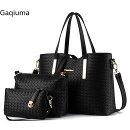 Bolsos de Gaqiuma 3 unids un juego de tejer PU de cuero de gran capacidad bolso de hombro ocasional del totalizador femenino de la manera bolso crossbody # 113030 en venta