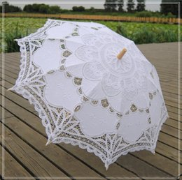 Long handLe parasoLs online shopping - Stock White Lace Bridal Wedding Parasols ictorian Lady Costume Accessory Bridal Cosplay Dancing Party Decoration Parasol Cheap