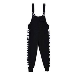 Harem Jumpsuits Women UK - Fashion Harem Pants Denim Overalls Jeans Couple Print Bib Overalls Man Women Casual Black Denim Jumpsuits Jeans Man Ankle length