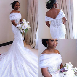 Purple Wedding Dresses Pictures Australia - 2019 New White Mermaid Wedding Dresses Nigerian Arabic African Bridal Gowns Sheer Off Shoulder Sweep Train Robe de soriee