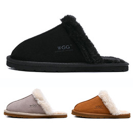 Green heeled sandals online shopping - New Arrival WGG women Slides winter Luxury Designer Indoor fur Brand womens warm Sandals Slippers House Flip Flops With Spike Sandal