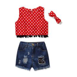 $enCountryForm.capitalKeyWord UK - Baby Girl Denim Suit Toddler Girl Designer Outfits Clothing Dot Tassel Covered Button Vest Tops T-Shirt Solid Denim Shorts With Headband