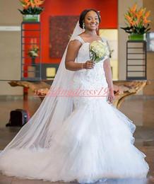$enCountryForm.capitalKeyWord Australia - Charming Lace Tiered Ruffle Mermaid Bride Dress Sleeveless Plus Size Tulle Beads Straps Wedding Dresses Vestido de novia African Bridal Gown