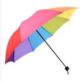 $enCountryForm.capitalKeyWord Australia - Travel 3 Foldable Sun Rain Rainbow Umbrella Hat For Adult Children Windproof Colorful Romantic Outdoor Umbrella