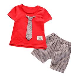 $enCountryForm.capitalKeyWord Australia - 2019 New Summer Boys Clothing Kids Casual Tracksuit Children Boys 2pcs Set Sport Suits Tie T-shirt+shorts For Boys Clothes Sets