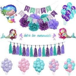 $enCountryForm.capitalKeyWord Australia - 1Set Mermaid Theme Party Decor Mermaid Banner Balloon For Baby Shower Kids Birthday Favor Supplies Wedding Party Decoration