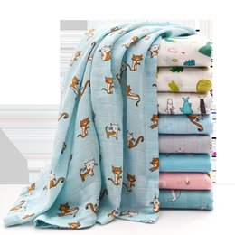 $enCountryForm.capitalKeyWord NZ - Muslin Baby Swaddling Towel 120*130cm Floral Animal Printed Kids Blankets Infant Double Layer Gauze Bath Towel Newborn Wraps GGA2214