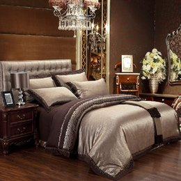 Ingrosso Set di biancheria da letto in cotone jacquard di seta blu caffè lusso / biancheria da letto queen king size 4/6 pezzi copripiumino biancheria da letto lenzuola set cuscino