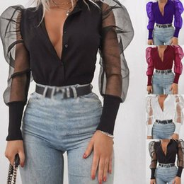 Wholesale spliced shirt for sale – plus size Womens Splicing Mesh Sheer Puff Sleeve Shirts Top Ladies Pure Color Shirt Blouses Femme Ladies Party Tee Casual shirt Streetwear