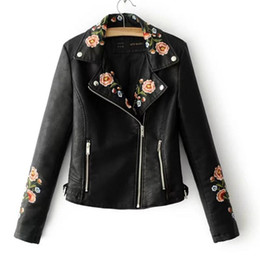 Embroidered Pu Jacket NZ - Black High-grade Embroidered PU Leather Jacket Coats Spring and Autumn Women's Fashion Lapel Zipper PU Leather Jacket Pink Coats