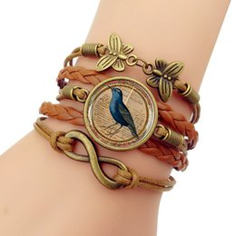 $enCountryForm.capitalKeyWord Australia - Hot Sale 2019 New Blue Bird Vintage time gem Bracelet Men Western Style Woven Bracelets Bangles For Women Fashion Jewelry Gift