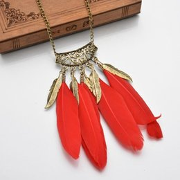 vintage style pendant necklace Canada - Bohemian Ethnic Indian Style Feather Pendant Necklace Vintage Chain Necklace Fashion Women Jewelry N572