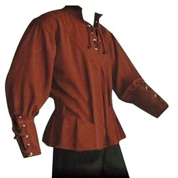 Shirts Stand Up Collars Australia - Medieval Men Shirt Solid Color Bandage Stand-up Collar Knight Top Without Belt #645551