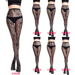 China Newest Black Lace Women's Sexy Stockings Fishnet Pantyhose Mesh Long Stockings Erotic Lingerie Skin Thigh High Stocking CWK01-07 cheap erotic fishnet stockings suppliers