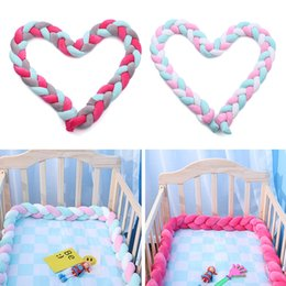high quality beds UK - High Quality Soft Knitted Knot Ball Long Strip Baby Bedding Stuffs Baby Bed Bumper Kids Room Decor