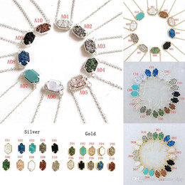 wholesale bulk copper chain NZ - New Druzy Stone Necklaces Stud Earrings Geometric Natural Stone Pendant Gold Silver Chains For Women Girls Fashion Jewelry Gift In Bulk