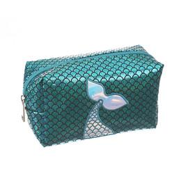 $enCountryForm.capitalKeyWord UK - Mermaid laser Cosmetic bag Fish scale wallet cartoon cute children kids handbag student Pencil storage case party favor kids gift 18*7.4*9.8