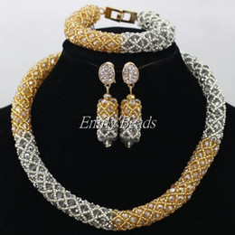Discount dubai costume sets - Gray Champagne Bridal Wedding Jewelry Set Best Dubai Gold Jewelry Set African Nigerian Costume Jewerly Set Free Shipping