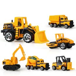 Inertial Car Australia - 6 Pcs lot Mini Kid Inertial Engineering Vehicles Car Model Excavator Tractor Dump Truck Educational Baby Toys for Children Baby