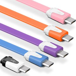 flat micro usb charger cable 3m Canada - 1M 2M 3M V8 Android Fashion Flat Data Lines Micro USB Charge Cables Mobile Phone Charging Cable Fast Charger Cables Mixed Color