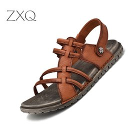 40c8eabef1c5 2019 Summer Men s Sandals Retro Fashion Genuine Leather Beach Shoes Mens  Casual Massage Non-Slip Slippers Flats