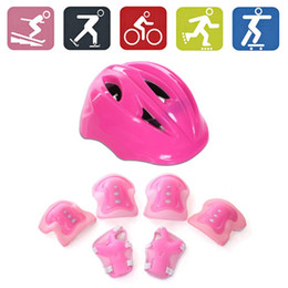 Discount kids safety helmets 7Pcs Kids Skating Cycling Helmet Guard Elbow Knee Wrist Pads Children Bicycle Helmet Protection Safety Guard Cycling Equ