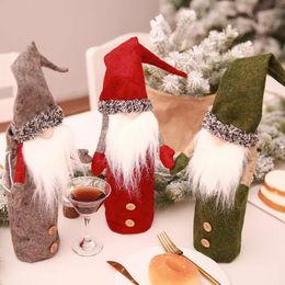 $enCountryForm.capitalKeyWord Australia - Christmas Wine Bottle Cover Faceless Plush Doll Wine Bags Elf Beard Dolls Dinner Party Decoration Household KTV Bar Santa Claus Ornament