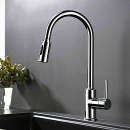 Brass Handles Pulls Australia - Chrome Plated Brass Cold And Hot Kitchen Faucet Pull Out Kitchen Sink Water Mixer Tap with Two Spray Mode Single Handle