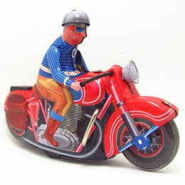 Old Gear Australia - [TOP] Classic collection Retro Clockwork motorbike toy Wind up Metal Tin Gear Ride the motorcycle Mechanical toy kids gift
