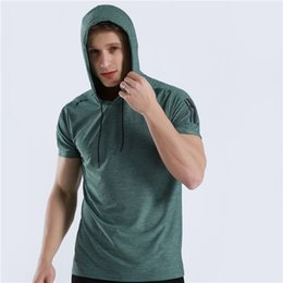 Gym Tees NZ - 2019 New Men Brand Gyms T Shirt Fitness Bodybuilding Cross Fit Slim Hooded Shirts Men Short Sleeve Workout Male Casual Tees Tops