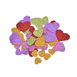 foam sticker crafts UK - 45 X Foam Stickers Mixed size glitter foam heart Scrapbooking kit Early educational DIY Cheap kindergarten craft