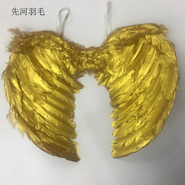 Wholesale gold stage props resale online - Angel Feather Wing Children trumpet Wings Festival performance Prop Decorative Pendant Suitable for stage color gold silver xh k1