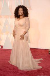 Sheath Plus Size Dress Australia - Cheap Oprah Winfrey Oscar Celebrity Dresses plus size v neck sheath tulle with long sleeves Sweep Train Draped evening Dresses